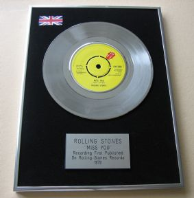 ROLLING STONES - MISS YOU Platinum single presentation DISC